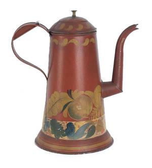 Pennsylvania red tole coffee pot ca 1900