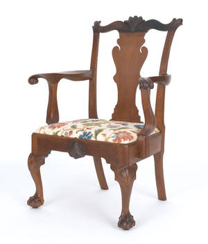 Delaware Valley Chippendale walnut armchair ca 1770