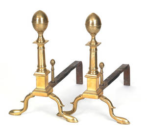 Pair of Philadelphia Federal brass lemon top andirons ca 1800