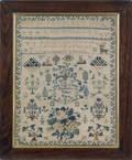 Silk on linen sampler dated 1857