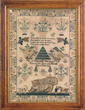 Silk on linen sampler dated 1835 wrought by M Williams