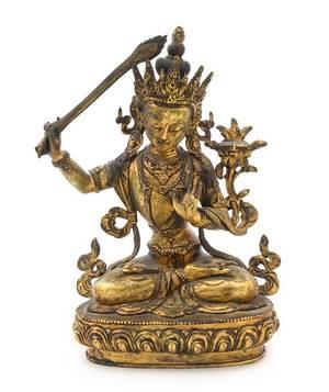 A SinoTibetan Gilt Bronze Figure of a Bodhisattva