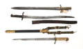 Two British bayonets and one British Naval officers short sword