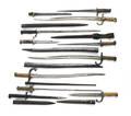 Ten miscellaneous bayonets