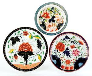 Three Gaudy Dutch plates 19th c