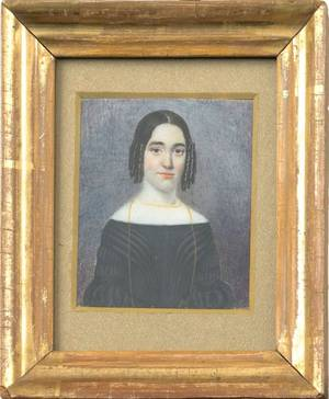 Miniature watercolor on ivory portrait of a woman early 19th c