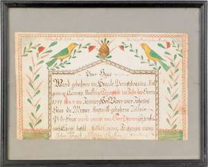 Montgomery County Pennsylvania watercolor and ink on paper fraktur birth record dated 1799