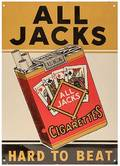 All Jacks Tin Cigarette Advertising Sign with Playing