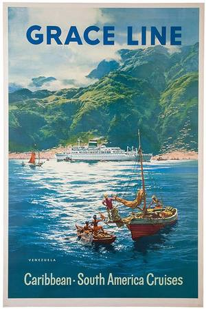 Grace Line Caribbean South American Cruises 1958