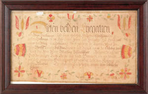 Northampton County Pennsylvania ink and watercolor fraktur birth certificate dated 1816