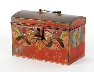 Tole dome lid document box 19th c