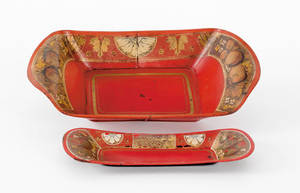 Tole bread tray and snuffer tray 19th c