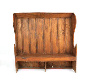 English pine settle bench