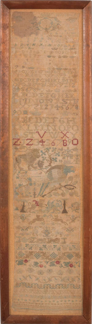 English silk on linen band sampler dated 1762