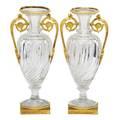 Pair of charles x cut glass urns