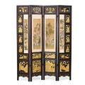 Chinese hongmu four panel screen