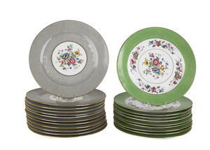 Set of ten French painted porcelain plates