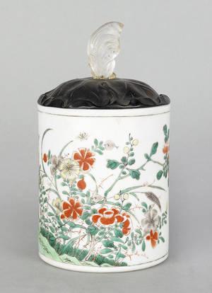 Chinese famille verte porcelain brush pot 19th c