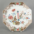 Chinese famille rose porcelain octagonal charger 18th c