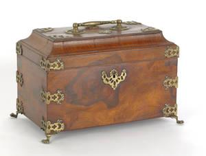 Rosewood veneer tea caddy late 18th c