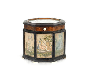 Ebony and burl veneer tea caddy early 19th c