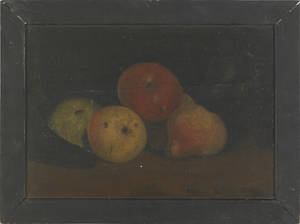 Pair of primitive oil on board still lifes 19th c