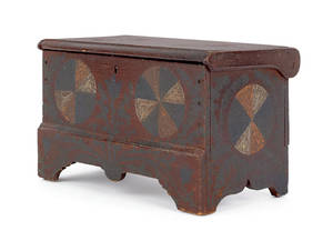 Maryland or Virginia painted pine miniature blanket chest early 19th c