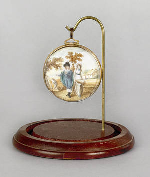 Miniature watercolor on ivory landscape early 19th c