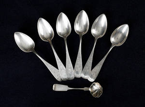 Set of six Philadelphia coin silver spoons