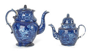 Historical blue Staffordshire coffee pot and teapot 19th c