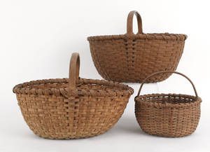 Three Pennsylvania gathering baskets 19th c