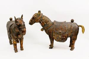 Large Pair Carved Chinese Tang Style Donkey Sculptures