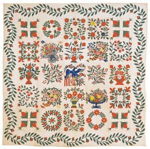Vibrant Baltimore appliqu and trapunto album quilt dated 1846