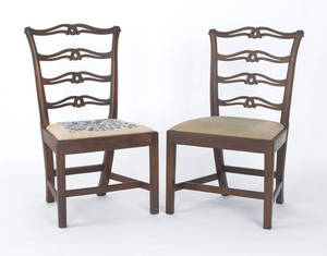 Pair of Philadelphia Chippendale mahogany ribbonback dining chairs ca 1780