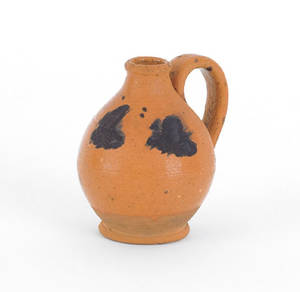 Pennsylvania miniature redware jug 19th c