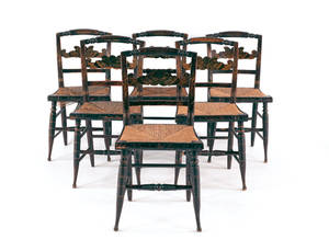 Set of six Sheraton painted fancy chairs