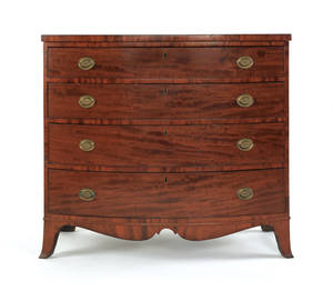 Hepplewhite mahogany bow front chest of drawers