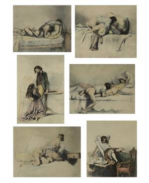 MIHALY VON ZICHY HUNGARIAN 18271906 A Set of Six Erotic Lithographs from