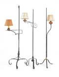 Three iron floor lamps