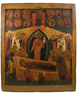 A MONUMENTAL RUSSIAN ICON OF THE DORMITION OF THE VIRGIN MARY 17TH CENTURY