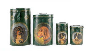 Set of four painted dog tins