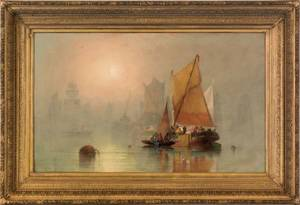 Oil on canvas harbor scene