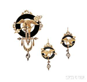 Antique Gold Onyx and Diamond Suite