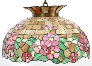 BRADLEY  HUBBARD LEADED GLASS HANGING LAMP