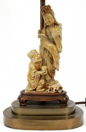 CHINESE SOAPSTONE FIGURE GROUP MOUNTED AS A LAMP