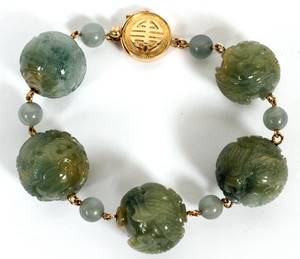 CHINESE JADE CARVED BALL BRACELET