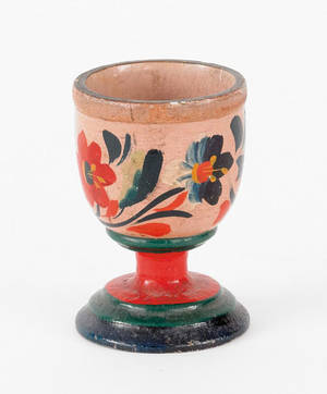 Pennsylvania turned and painted egg cup attributed to William Carl Heilig Ephrata 19th c