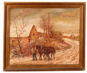George Vaughan Curtis Winter Walk Oil