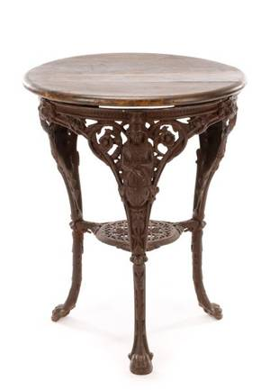 English Cast Iron  Wood Abolitionist Pub Table