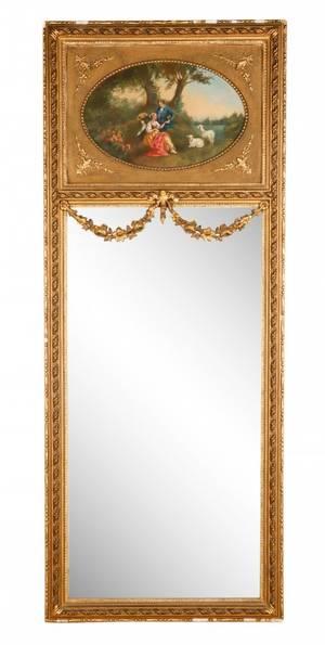 Monumental Louis XV Style Giltwood Trumeau Mirror